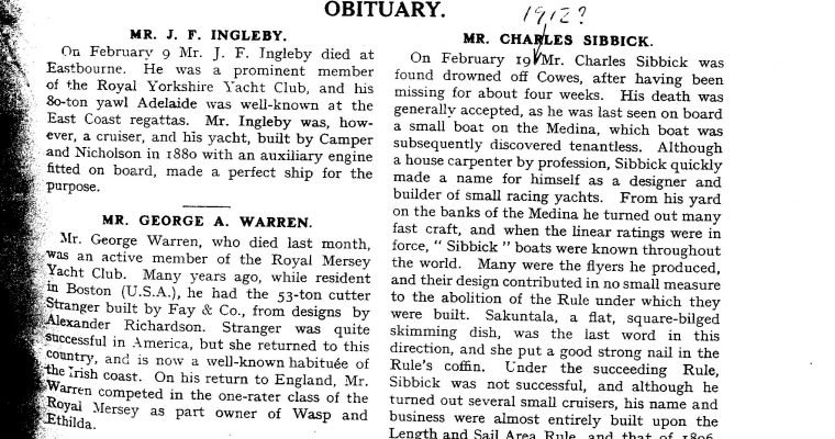 Charles Sibbick obituary from 1912