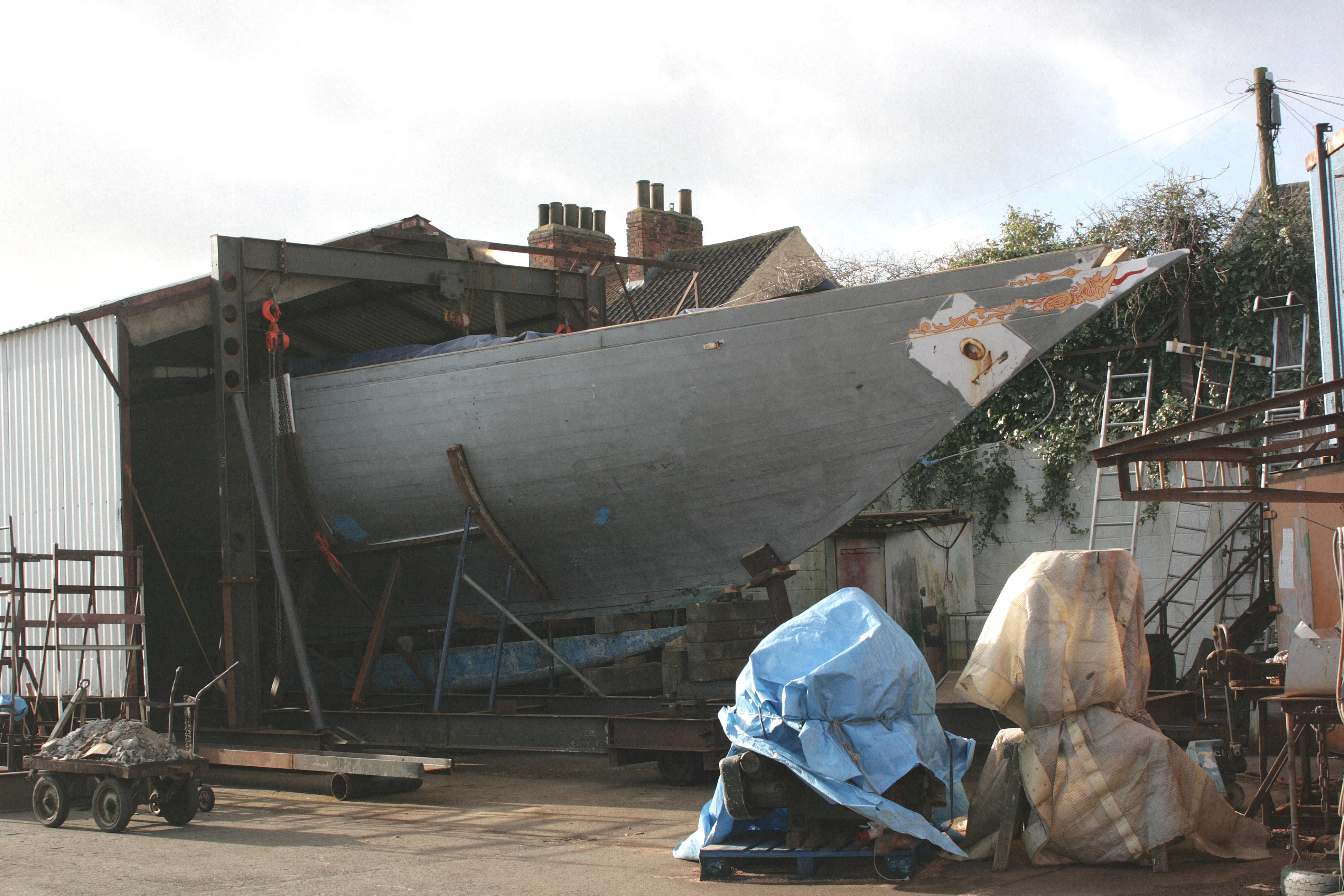 Fife schooner Elise in the shed